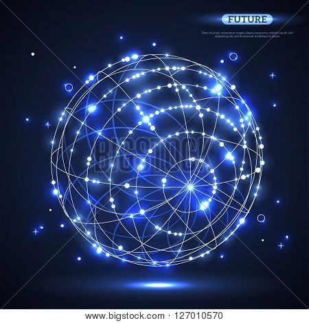 Abstract shining vector sphere. Futuristic technology glowing wireframe mesh element. Connection Structure. Geometric Modern Technology Concept. Digital Data Visualization.