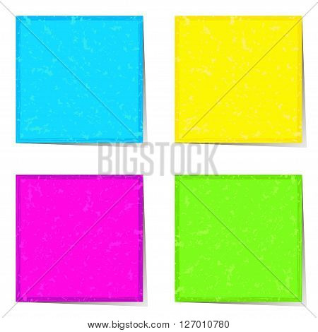 Bright stickers in neon colors for notes, vector illustration