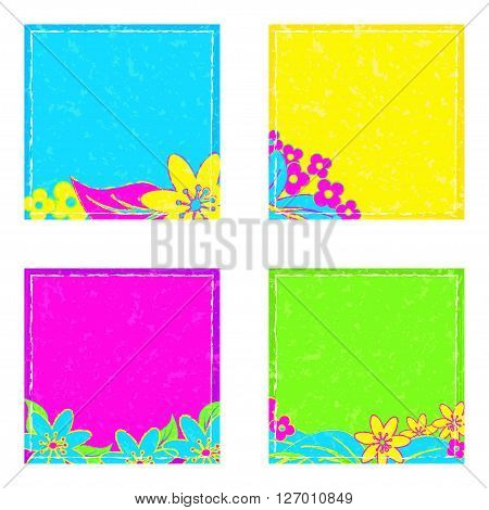 stickers in bright neon colors with floral notes, vector illustration