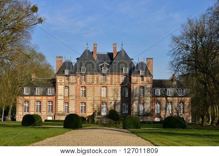 Fleury la Foret France - march 15 2016 : the castle of Fleury la Foret of 17 th century