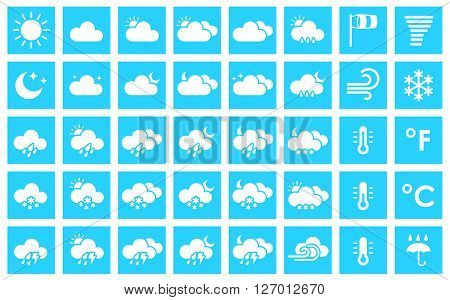 Set of weather icons. Vector illustration for your design solution of blue color. Eps 10. Clear sky. Cloudy weather. Increased cloudiness. Sunshine. Sunlight. Tornado. Blizzard