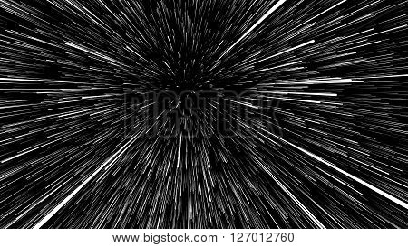 3D illustration of star trails at universe on black background