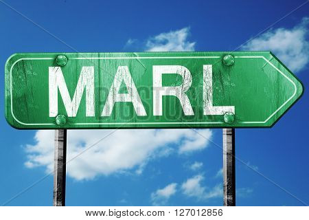 Marl road sign, on a blue sky background
