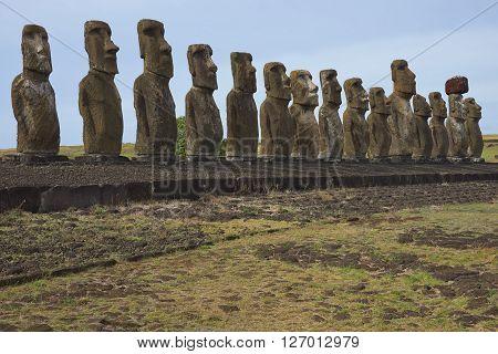 Ahu Tongariki. Ancient Moai statues on the coast of Rapa Nui (Easter Island)