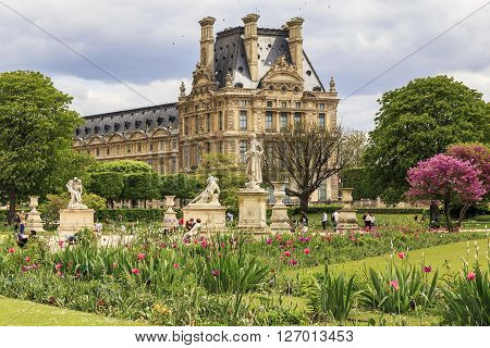 Paris, France - May 12: It is a Tuileries garden near the palace of the Louvre Museum at springtime May 12, 2013 in Paris, France.