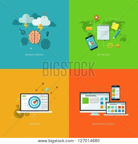 Vector seo flat and colorful business and finance concepts for brainstorming, key notes, targeting, responsive design. Design elements for web and mobile applications, infographics and workflow layout poster
