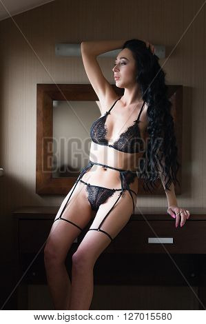 Woman In Seductive Black Lingerie