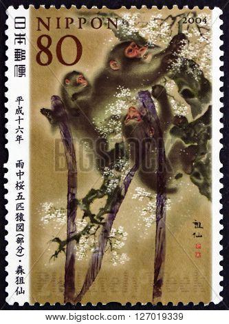 JAPAN - CIRCA 2004: a stamp printed in the Japan shows Uchu-no Sakura Gohiki-no Saru-zu Painting by Sosen Mori Philately Week circa 2004