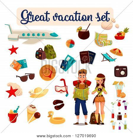 set travel concept summer vacation on the beach, cartoon tourists go hiking in travel between countries, vacation, set of vector elements of icons, card, ticket, airplane, passport, beach stuff, plane