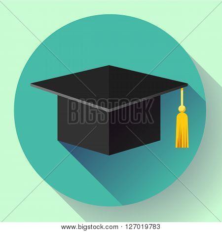 Student graduation cap icon. Flat design style