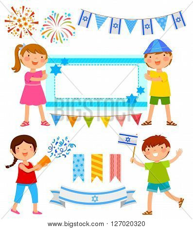 set of cartoons for Israel's Independence Day