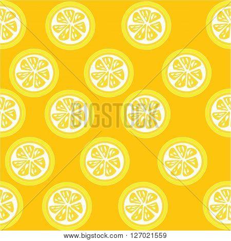 Lemon slices seamless pattern on orange background
