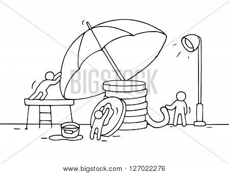 Sketch of working little people saving stack of coins umbrella. Doodle cute miniature teamwork about money saving. Hand drawn cartoon vector illustration for business and finance design.