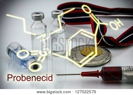 Chemical formula of probenecid Probenecid is able to inhibit completely the renal excretion of certain drugs dope Doping in sport concept