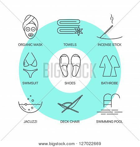 Premium spa thin line icons set. Exceptional elegant linear logo concept. Exclusive outline sign vector illustration.
