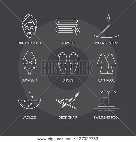 Premium spa thin line icons set on dark background. Exceptional elegant linear logo concept. 