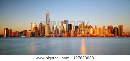 Downtown New York skyline panorama from Liberty State park USA.