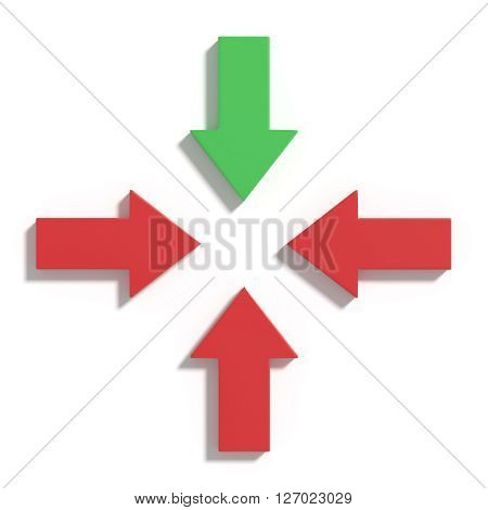Three Red And One Green Arrows On White Background