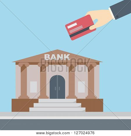 Hand holding credit card in front of bank building finance institution with road on flat style background concept. Vector illustration design