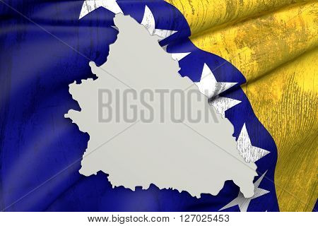 Silhouette Of Bosnia Herzegovina Map With Old Flag Inside