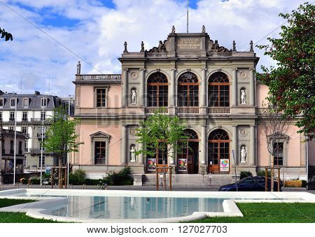 GENEVA SWITZERLAND - AUGUST 17: Facade of the Music Conservatory in Geneva on August 17 2015. The Conservatoire de musique is a music school in Geneva Switzerland