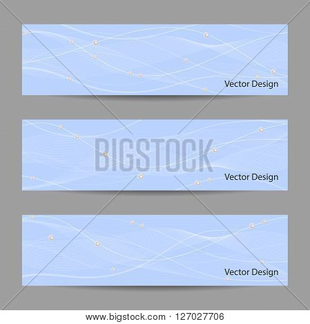 Set of horizontal banners with white stripes, veil and pearls on blue background for use in your designt.