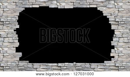 black hole in the stone wall isolated background