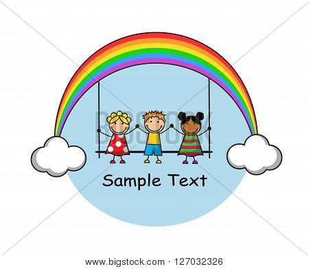 funny kids are sitting on a swing, a swing hanging on rainbow and clouds