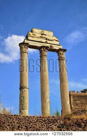 ancient marble column in Forum Romanum, Italy