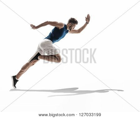 young man runner jogger running. dynamic movement. isolated