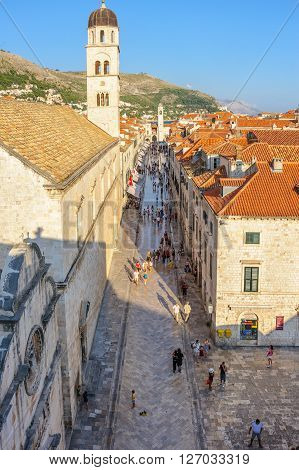 DUBROVNIK CROATIA - AUGUST 31 2009: View of Stradun street from the east walls