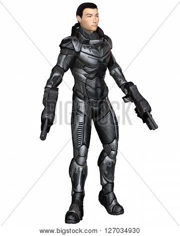 Science fiction illustration of an Asian male future soldier in protective armoured space suit, standing holding pistols, 3d digitally rendered illustration (3d rendering, 3d illustration)
