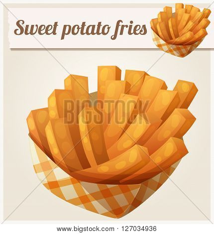 Sweet potato fries in paper box. Detailed vector icon. Series of food and drink and ingredients for cooking.
