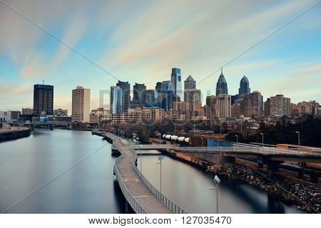 Philadelphia skyline with urban architecture.