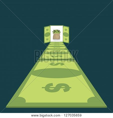 Road Of Dollars. Path To Prosperity. Footpath Of Money. Cash Bag In End. Money Paradise. Wealth. Ope