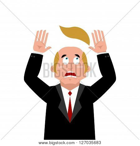 Man And Wig. Scared Businessman Lost Their Hair. Artificial Hair Flew With Bald Head. Man In Confusi