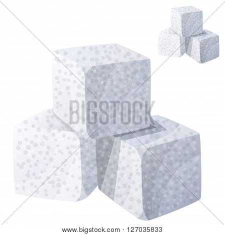 White sugar. Detailed Vector Icon isolated on white background. Series of food and drink and ingredients for cooking.