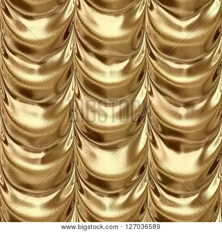 gold draped textile fabric drapery material seamless pattern texture background with a metallic reflection