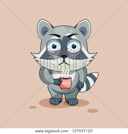 Vector Stock Illustration isolated Emoji character cartoon Raccoon cub nervous with cup of coffee sticker emoticon for site, info graphic, video, animation, websites, e-mails, newsletters, report, comic