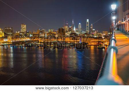 Night view of Philadelphia from Ben Franklin Bridge