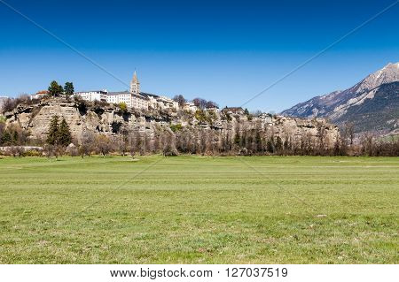 View of the village Embrun Hautes-Alpes in France