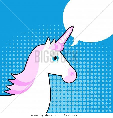 Unicorn In Pop Art Style. White Fantastic Animal With A Horn In His Forehead. Pink Mane. Bubble For