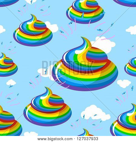 Unicorn Shit Seamless Pattern. Turd Color Rainbow Background. Multicolored Cal Fantastic Animal Orna