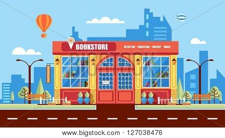 Stock vector illustration city street with book shop building, modern architectures, office building in flat style element for infographic, website, icon, games, motion design, video