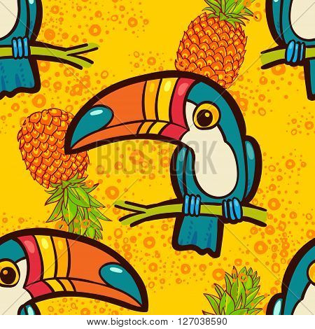 Toucan and pineapple. Tropical Green seamless pattern. Vector ornament in cartoon style. American bill ramphastida. Texture for scrapbooking wrapping paper web textile surface design fashion