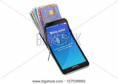 Credit Cards and Money in the mobile phone NFC concept. 3D rendering