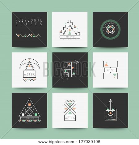 Sacred geometry. Set of minimal geometric shapes. Business signs, labels, trendy hipster linear icons and logotypes. Religion, philosophy, spirituality, occultism symbols collection poster