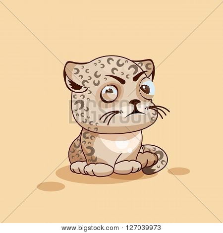 Vector Stock Illustration isolated Emoji character cartoon Leopard cub squints and looks suspiciously sticker emoticon for site, infographic, video, animation, website, e-mail, newsletter, report, comic
