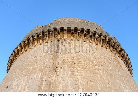 Close-up of the cornice of the Minceta tower fort in Dubrovnik