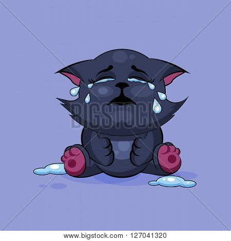 Vector Stock Illustration isolated Emoji character cartoon black cat crying, lot of tears sticker emoticon for site, infographics, video, animation, websites, e-mails, newsletters, reports, comics